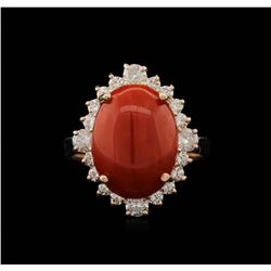 14KT Rose Gold 6.09 ctw Coral and Diamond Ring
