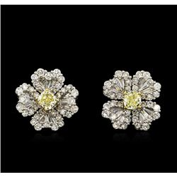 3.93 ctw Yellow Diamond Earrings - 18KT White Gold