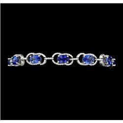 11.15 ctw Blue Sapphire And Diamond Bracelet - 14KT White Gold