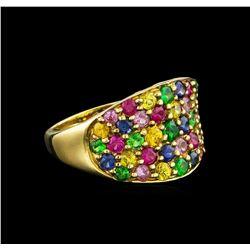 3.41 ctw Multi Gemstone Ring - 9KT Yellow Gold
