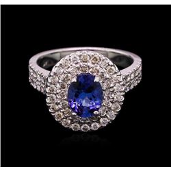 1.50 ctw Tanzanite and Diamond Ring - 14KT White Gold