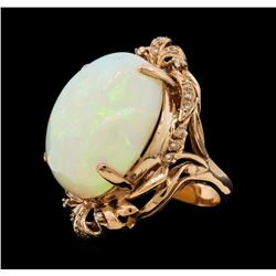 33.41 ctw Opal and Diamond Ring - 14KT Rose Gold