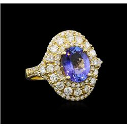 14KT Yellow Gold 2.05 ctw Tanzanite and Diamond Ring