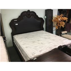 SCHNADIG DARK WOOD & LEATHER KING SIZE BED WITH 2 POWERED NIGHT STANDS - RETAIL $7,900