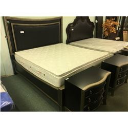PULASKI NICOLETTE DARK WOOD LEATHER INLAYED KING SIZE BED WITH LED BACKLIGHT & 2 NIGHT STANDS -