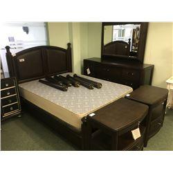 SCHNADIG DARK WOOD & RATTAN 4 POST QUEEN SIZE BEDROOM SET WITH 2 NIGHT STANDS & 9 DRAWER DRESSER