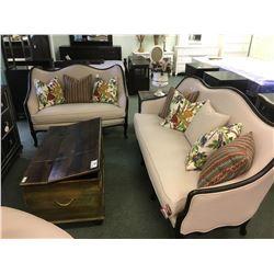 DECO-REST BEIGE LINEN CURVED BACK SOFA, LOVE SEAT & CHAIR SET - RETAIL $12,100