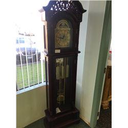 DARK CHERRY ORNATE GRANDFATHER CLOCK