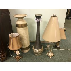 ASSORTED DECORATIVE TABLE LAMPS & VASES