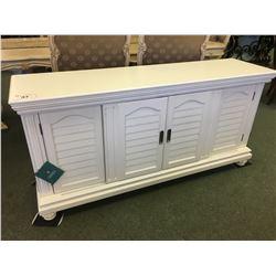 PULASKI WHITE 4 DOOR ENTERTAINMENT STAND - RETAIL $2,900