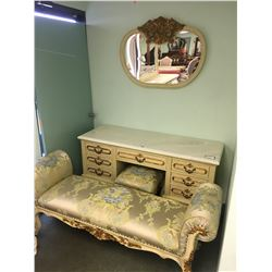 FRIENDLIES ORNATE MARBLE TOP VANITY WITH WALL MIRROR & ORNATE STOOL & LOUNGE BENCH - RETAIL $9,300