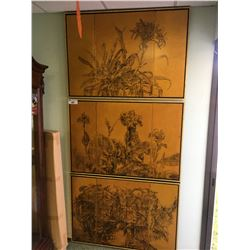 3 PIECES OF GOLD & BLACK FLORAL ARTWORK