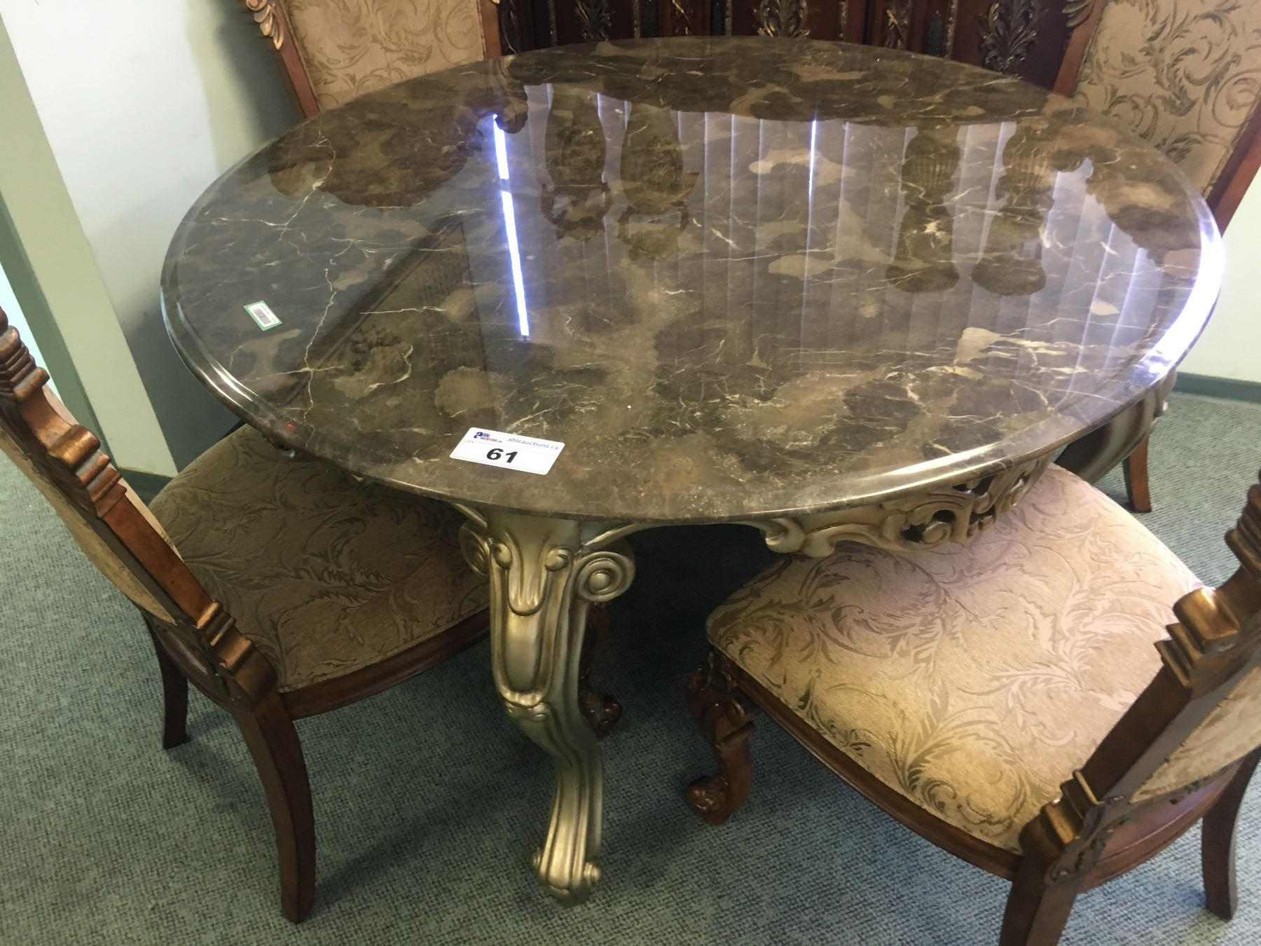 Odins Round Marble Top Dining Table With 4 Pulaski Royal Cherry Dining Chairs With Ornate 3 Door