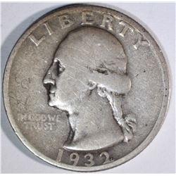 1932-S WASHINGTON QUARTER, FINE