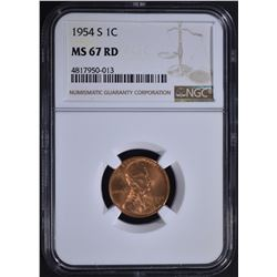 1954-S LINCOLN CENT, NGC MS-67 RD