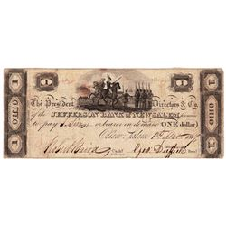 1814 $1 Jefferson - Bank of New Salem ,OH - Obsolete Bank Note