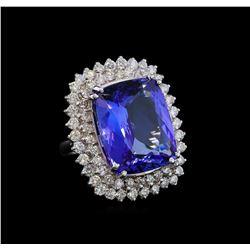 GIA Cert 22.59 ctw Tanzanite and Diamond Ring - 14KT White Gold