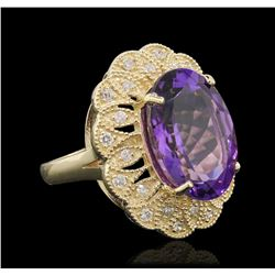 14KT Yellow Gold 10.46 ctw Amethyst and Diamond Ring