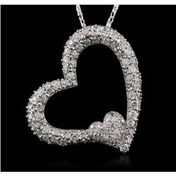 14KT White Gold 1.35 ctw Diamond Pendant With Chain
