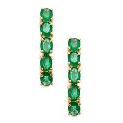 1.57 ctw Emerald Earrings - 14KT Yellow Gold