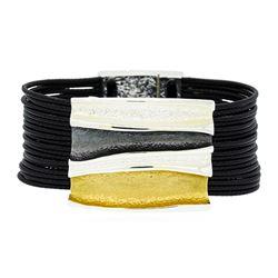 Rectangle Pendant Multi Strand Bracelet - Rhodium Plated