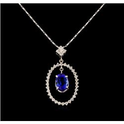 14KT White Gold 2.16 ctw Tanzanite and Diamond Pendant With Chain