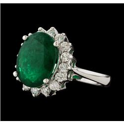 4.60 ctw Emerald and Diamond Ring - 14KT White Gold