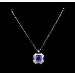 GIA Cert 16.70 ctw Tanzanite, Sapphire and Diamond Pendant With Chain - 14KT Whi