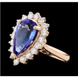 4.23 ctw Tanzanite and Diamond Ring - 14KT Rose Gold