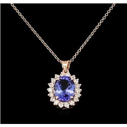 3.68 ctw Tanzanite and Diamond Pendant With Chain - 14KT Rose Gold