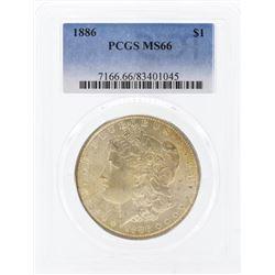 1886 $1 Morgan Silver Dollar Coin PCGS MS66
