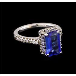 2.85 ctw Tanzanite and Diamond Ring - 14KT White Gold