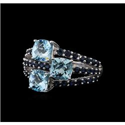 4.89 ctw Blue Topaz and Sapphire Ring - 14KT White Gold