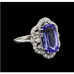 5.04 ctw Tanzanite and Diamond Ring - 14KT White Gold