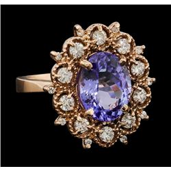 4.36 ctw Tanzanite and Diamond Ring - 14KT Rose Gold