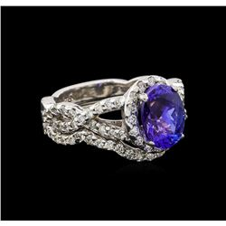 14KT White Gold 1.95 ctw Tanzanite and Diamond Wedding Ring Set