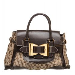 Gucci Beige Canvas Monogram Brown Leather Dialux Queen Bag