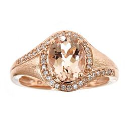 1.54 ctw Morganite and Diamond Ring - 10KT Rose Gold