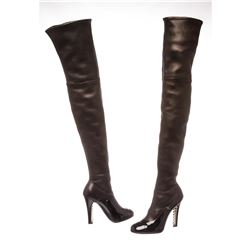 Chanel Black Leather Thigh-High Pearl Heel Boots Heels 38.5