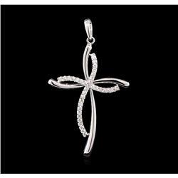 0.50 ctw Diamond Cross Pendant - 14KT White Gold