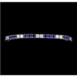 5.50 ctw Blue Sapphire And Diamond Bracelet - 14KT White Gold