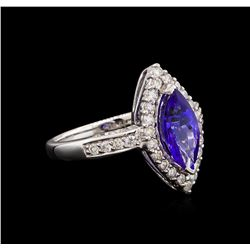 14KT White Gold 2.13 ctw Tanzanite and Diamond Ring