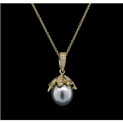 Pearl and Diamond Pendant With Chain - 14KT Yellow Gold