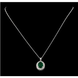 3.66 ctw Emerald and Diamond Pendant With Chain - 14KT White Gold