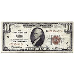 1929 $10 Chicago IL Federal Reserve Bank Note