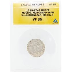 1719-1748 Rupee Mughal Muhammad Shah Shahjahanabad KM-437.4 Coin ANACS VF35