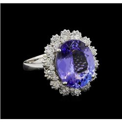 6.28 ctw Tanzanite and Diamond Ring - 14KT White Gold