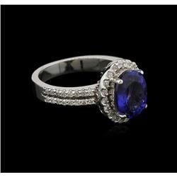 2.81 ctw Tanzanite and Diamond Ring - 14KT White Gold