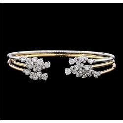 3.34 ctw Diamond Bangle Bracelets - 14KT Yellow, White, and Rose Gold