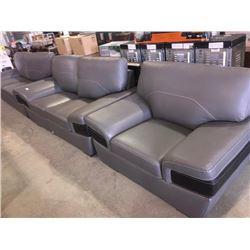 3 piece Grey Designer sofa suite